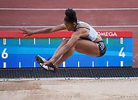 Abigail Irozuru (Great Britain) competing in the Women's long jump during the IAAF Diamond League Athletics Müller Grand Prix Birmingham at Alexander Stadium, Walsall Road, Birmingham on 18 August 2019. Photo by Alan  Stanford.