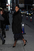 www.acepixs.com<br /> February 13 , 2017 New York City<br /> <br /> Laverne Cox arriving to tape an appearance on 'The Late Show with Stephen Colbert' on February 13, 2017 in New York City.<br /> <br /> Credit: Kristin Callahan/ACE Pictures<br /> <br /> Tel: (646) 769 0430<br /> e-mail: info@acepixs.com