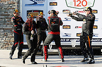 2017 IMSA Continental Tire SportsCar Challenge<br /> Visit Sebring 120<br /> Sebring International Raceway, Sebring, FL USA<br /> Friday 17 March 2017<br /> 44, Nissan, Altima, ST, Sarah Cattaneo, Owen Trinkler, 17, Porsche, Porsche Cayman, ST, Spencer Pumpelly, Nick Galante, 56, Porsche, Porsche Cayman, ST, Jeff Mosing, Eric Foss, podium, champagne<br /> World Copyright: MIchael L. Levitt<br /> LAT Images<br /> ref: Digital Image levitt_seb_0317-15573