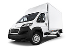 Stock pictures of low aggressive front three quarter view of 2017 Peugeot Boxer 410 4 Door Parcel Van Low Aggressive