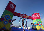 PUERTO VALLARTA, MEXICO - OCTOBER 23:  Sarah Haskins of the USA celebrates her gold medal during the Triathlon competition on Day Eight of the XVI Pan American Games on October 23, 2011 in Puerto Vallarta, Mexico.  (Photo by Donald Miralle for Mexsport) *** Local Caption ***