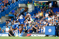 """Tammy Abraham of Chelsea performs a """"round the world"""" whilst warming up during the Premier League match between Chelsea and Sheff United at Stamford Bridge, London, England on 31 August 2019. Photo by Carlton Myrie / PRiME Media Images."""