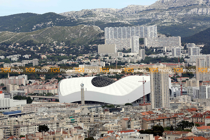 An aerial view of the Stade Velodrome where England start their first match of the Euro's against Russia on Sat 11th June 2016 during a visit to the Stade Velodrome, home of Olympique de Marseille ahead of UEFA Euro 2016 on 22nd May 2016