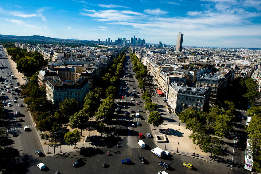 View from the roof of the Arche de Triomphe, facing west down the avenue toward the Grande Arche.