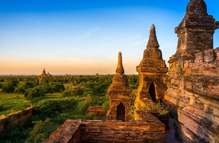 View of the terrace overlooking the plains of Bagan in Myanmar from one of the ancient temples.