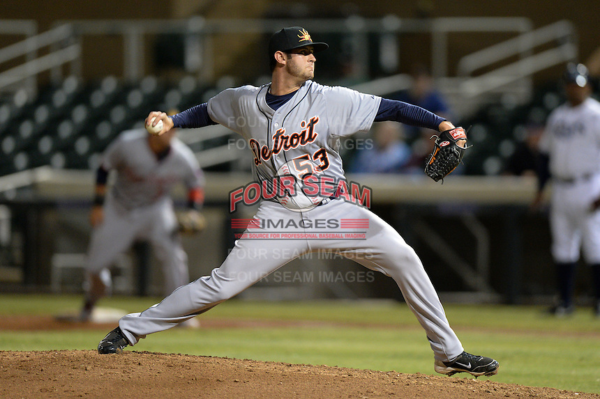 Mesa Solar Sox Pitcher Tommy Collier (53), of the Detroit Tigers organization, during an Arizona Fall League game against the Salt River Rafters on October 10, 2013 at Salt River Fields at Talking Stick in Scottsdale, Arizona.  Mesa defeated Salt River 8-1.  (Mike Janes/Four Seam Images)