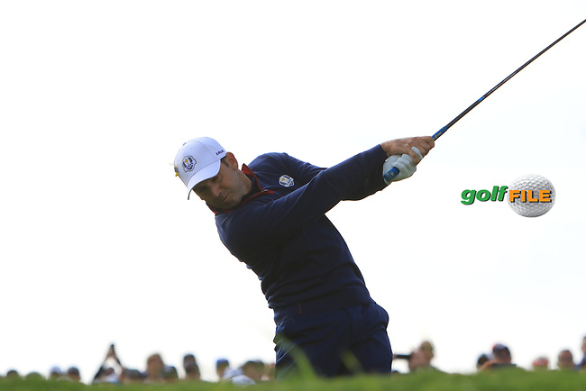 Sergio Garcia (Team Europe) on the 7th tee during the Friday Foursomes at the Ryder Cup, Le Golf National, Ile-de-France, France. 28/09/2018.<br /> Picture Thos Caffrey / Golffile.ie<br /> <br /> All photo usage must carry mandatory copyright credit (© Golffile | Thos Caffrey)