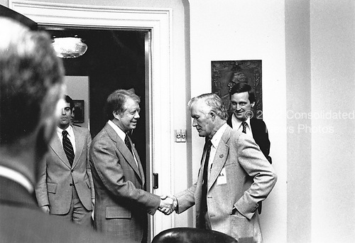 United States President Jimmy Carter meets with coal union and operators to discuss the coal strike in the White House in Washington, DC on February 15, 1978.<br /> Mandatory Credit: Jack Kightlinger / White House via CNP