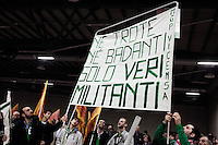 Bergamo 10-04-2012: giovani militanti della Lega Nord partecipano alla «Serata dell'orgoglio leghista», dopo lo scandalo  dell'inchiesta sui fondi della Lega...Bergamo 10-04-2012: young Northern League supporters attend the Padania Pride political convention