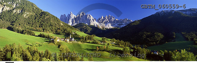 Tom Mackie, LANDSCAPES, panoramic, photos, View over St. Magdaena, Val di Funes, Dolomites, Italy, GBTM060559-6,#L#