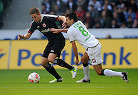 FUSSBALL   1. BUNDESLIGA  SAISON 2012/2013   7. Spieltag   Borussia Moenchengladbach - Eintracht Frankfurt   07.10.2012 Bastian Oczipka (li, Eintracht Frankfurt)  gegen Lukas Rupp (re, Borussia Moenchengladbach)