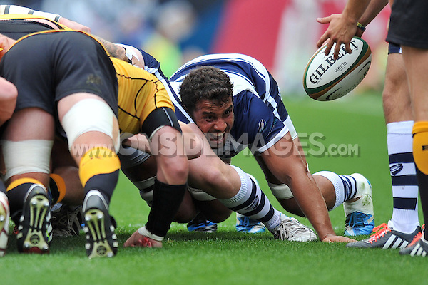 Marco Mama in action at a scrum. Greene King IPA Championship match, between Bristol Rugby and Cornish Pirates on September 21, 2014 at Ashton Gate in Bristol, England. Photo by: Patrick Khachfe / JMP