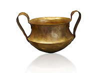Two handled Mycenaean gold bowl cup from the Kakovatos tholos tomb, Trifylia, Greece. National Archaeological Museum Athens. <br />  White Background.<br /> Kakovatos is a significant site of the early Mycenaean period of Greece (c. 16th to 15th century BC) on the west coast of the Peloponnese (Zacharo, Nomos Elis) and became widely known through the excavations of three large tholos tombs by Wilhelm Dörpfeld in 1907–1908.