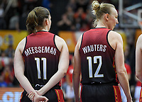 20200206 – OOSTENDE ,  BELGIUM : Belgian Emma Meesseman (11) with hearing aid - hoorapparaat pictured with teammate Belgian Ann Wauters (12) during a basketball game between the national teams of Canada and the National team of Belgium named the Belgian Cats on the first matchday of the FIBA Women's Qualifying Tournament 2020 , on Thursday 6  th February 2020 at the Versluys Dome in Oostende  , Belgium  .  PHOTO SPORTPIX.BE   DAVID CATRY