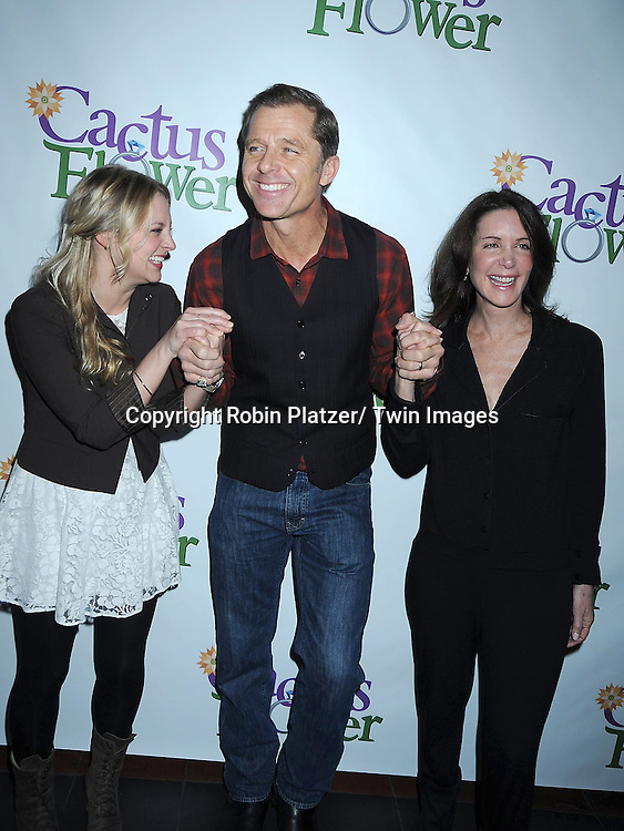 """Jenni Barber, Maxwell Caulfield and Lois Robbins posing for photographers at the photo call .for """" Cactus Flower"""" on February 1, 2011 at The Westside Theatre Upstairs in New York City. The stars are Maxwell Caulfield, .Lois Robbins and Jenni Barber."""