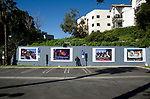 Photographer Robert Landau at installation of Rock N Roll Billboard photos on the Sunset Strip in Los Angeleles, CA