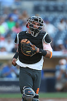 Mario Feliciano (23) of the East team in the field at catcher during the 2015 Perfect Game All-American Classic at Petco Park on August 16, 2015 in San Diego, California. The East squad defeated the West, 3-1. (Larry Goren/Four Seam Images)