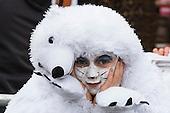 Düsseldorf, Germany. 27 February 2017. Girl in a polar bear costume. Carnival parade on Shrove Monday (Rosenmontag) in Düsseldorf, North Rhine-Westphalia, Germany.