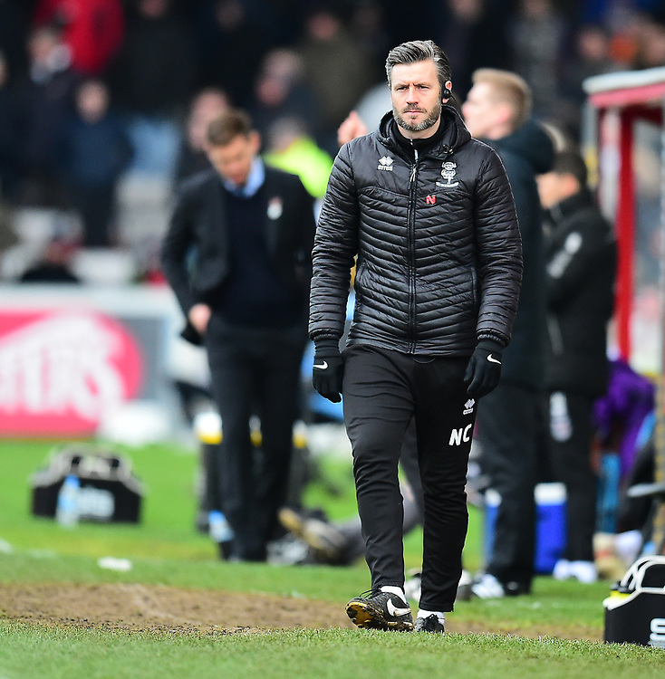 Lincoln City's assistant manager Nicky Cowley in the technical area<br /> <br /> Photographer Andrew Vaughan/CameraSport<br /> <br /> The EFL Sky Bet League Two - Lincoln City v Grimsby Town - Saturday 19 January 2019 - Sincil Bank - Lincoln<br /> <br /> World Copyright © 2019 CameraSport. All rights reserved. 43 Linden Ave. Countesthorpe. Leicester. England. LE8 5PG - Tel: +44 (0) 116 277 4147 - admin@camerasport.com - www.camerasport.com