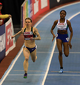 10th February 2019, Arena Birmingham, Birmingham, England; Spar British Athletics Indoor Championships; Hayley Mills runs to the line to win the Women's 200m final during Day Two of the Spar Indoor Athletics Championships at Birmingham Arena