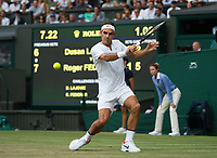Roger Federer of Switzerland in action during his victory over Dusan Lajovic of Serbia in their Men's Singles Second Round Match today - Federer def Lajovic 7-6, 6-3, 6-2<br /> <br /> Photographer Ashley Western/CameraSport<br /> <br /> Wimbledon Lawn Tennis Championships - Day 4 - Thursday 6th July 2017 -  All England Lawn Tennis and Croquet Club - Wimbledon - London - England<br /> <br /> World Copyright &not;&copy; 2017 CameraSport. All rights reserved. 43 Linden Ave. Countesthorpe. Leicester. England. LE8 5PG - Tel: +44 (0) 116 277 4147 - admin@camerasport.com - www.camerasport.com