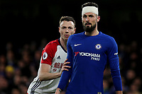 Jonny Evans of West Brom and Chelsea's Olivier Giroud during Chelsea vs West Bromwich Albion, Premier League Football at Stamford Bridge on 12th February 2018