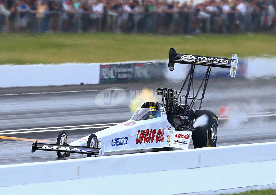May 31, 2014; Englishtown, NJ, USA; NHRA top fuel driver Morgan Lucas during qualifying for the Summernationals at Raceway Park. Mandatory Credit: Mark J. Rebilas-