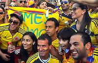 RIO DE JANEIRO - BRASIL -01-07-2014. Rostros de los  Hinchas de Colombia en  Rio de Janeiro por la Copa Mundial de la FIFA Brasil 2014 , rumbo a Fortaleza para el encuentro con la seleccion de Brazil ./ Faces of the Fans of Colombia  in Rio de Janeiro for the World Cup Brazil 2014, heading to Fortaleza for the meeting with the selection of Brazil. Photo: VizzorImage / Alfredo Gutierrez / Contribuidor