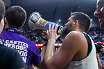 Real Madrid Felipe Reyes with supporters during Turkish Airlines Euroleague Quarter Finals 4th match between Real Madrid and Panathinaikos at Wizink Center in Madrid, Spain. April 27, 2018. (ALTERPHOTOS/Borja B.Hojas)