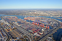 Containerhafen Hamburg: EUROPA, DEUTSCHLAND, HAMBURG, (EUROPE, GERMANY), 2.1.2009: Europa, Deutschland, Hamburg,  am Tag, am Tage, am Tage Tag tagsueber, Burchardkai CTB, Container Terminal Container-Terminal, Container, Globalisierung, Logistik, Transport, internationaler Handel, Welthandel, Container-Terminal Burchardkai, Containerbruecke, Containerbruecken, Containerfrachter, Containerhaefen, Containerhafen, Umschlaghafen, Containerlogistik, Containerriese, Containerriesen, Containerschiff, Containerschiffe, Containerterminal, Containerumschlag, Containerverkehr, Eurogate EG CTH, Haefen, Hafen, Hafenwirtschaft, HHLA, Luftaufnahme, Luftaufnahmen, Luftbild, Luftbilder, Luftfoto, Luftfotos, Luftphoto, Luftphotos, Schiff, Schiffe, Seehaefen, Seehafen, Universalhafen, Vogelperspektive, Vogelperspektiven, Waltershof, Waltershoferhafen Waltershofer Hafen, Wirtschaft, Wirtschaftszweig.c o p y r i g h t : A U F W I N D - L U F T B I L D E R . de.G e r t r u d - B a e u m e r - S t i e g 1 0 2, .2 1 0 3 5 H a m b u r g , G e r m a n y.P h o n e + 4 9 (0) 1 7 1 - 6 8 6 6 0 6 9 .E m a i l H w e i 1 @ a o l . c o m.w w w . a u f w i n d - l u f t b i l d e r . d e.K o n t o : P o s t b a n k H a m b u r g .B l z : 2 0 0 1 0 0 2 0 .K o n t o : 5 8 3 6 5 7 2 0 9.V e r o e f f e n t l i c h u n g  n u r  n a c h  H o n o r a r  a b s p r a c h e, N a m e n s n e n n u n g  u n d  B e l e g e x e m p l a r !.