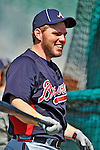 13 March 2012: Atlanta Braves first baseman Freddie Freeman awaits his turn in the batting cage prior to a Spring Training game against the Miami Marlins at Roger Dean Stadium in Jupiter, Florida. The two teams battled to a 2-2 tie playing 10 innings of Grapefruit League action. Mandatory Credit: Ed Wolfstein Photo