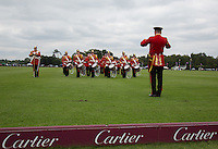 The Band perform pre match during the Cartier Queens Cup Final match between King Power Foxes and Dubai Polo Team at the Guards Polo Club, Smith's Lawn, Windsor, England on 14 June 2015. Photo by Andy Rowland.