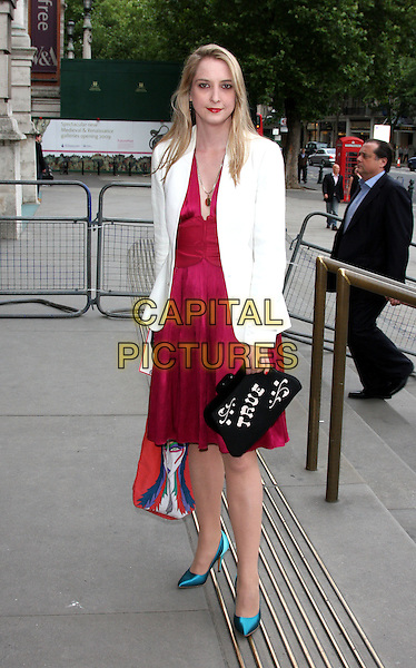DAISY DE VILLENEUVE.Lulu Guinness' 20th Anniversary Party at the Victoria and Albert Museum, London, England..June 8th, 2009.V&A V & A full length white jacket red silk satin dress black true clutch bag blue shoes turquoise .CAP/ROS.©Steve Ross/Capital Pictures.