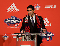 Austin Da Luz of Wake Forest speaks after being selected as the fourteenth overall pick of  the MLS Superdraft by the New York Red Bulls at the Pennsylvania Convention Center in Philadelphia, PA.