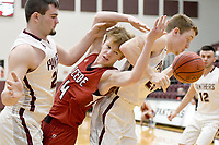 Bud Sullins/Special to Siloam Sunday<br /> Siloam Springs junior Thad Wright and Beebe's Caleb Barrentine battle as Jacob Wakefield pulls down a rebound during Friday's 5A-West Conference game at Panther Activity Center. Siloam Springs defeated Beebe 41-39 to open league play.