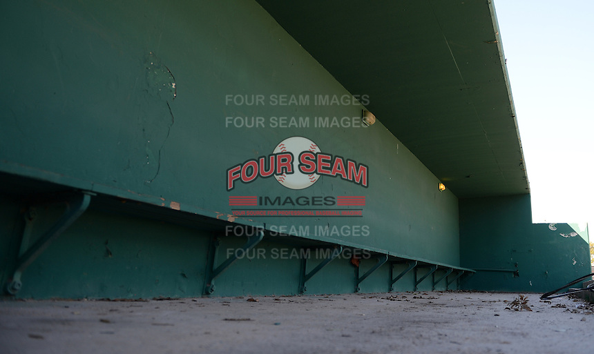General view of the third base side dugout at Tinker Field, a former spring training site for the Cincinnati Reds, Brooklyn Dodgers, Washington Senators, and Minnesota Twins as well as a minor league stadium, that is possibly being demolished with some portions moved due to renovations at the Citrus Bowl;  February 19, 2014 at Tinker Field in Orlando, Florida.  (Mike Janes/Four Seam Images)