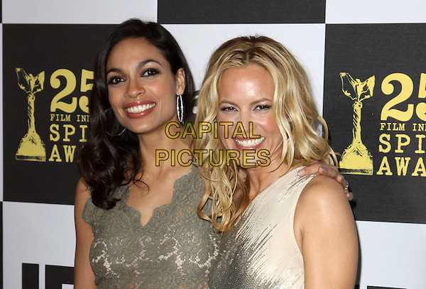 ROSARIO DAWSON & MARIA BELLO .25th Annual Film Independent Spirit Awards held At The Nokia LA Live, Los Angeles, California, USA,.March 5th, 2010 ..arrivals Indie Spirit portrait headshot   gold nude beige cream one shoulder shiny green lace smiling.CAP/ADM/KB.©Kevan Brooks/Admedia/Capital Pictures