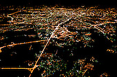 Aerial view of Moscow at night.
