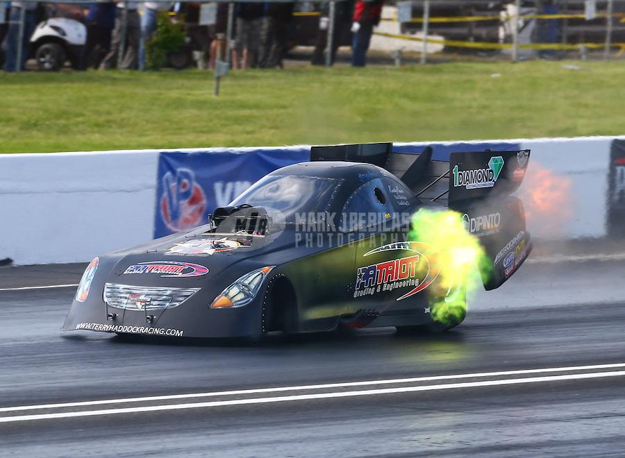 May 31, 2014; Englishtown, NJ, USA; NHRA funny car driver Terry Haddock during qualifying for the Summernationals at Raceway Park. Mandatory Credit: Mark J. Rebilas-