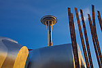 Seattle, WA  <br /> Experience Music Project buildiing and the Space Needle with corner of Grass Blades sculpture by John Flemming