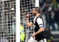 Calcio, Coppa Italia round 8 : Juventus - AS Roma, Turin, Allianz Stadium, January 22, 2020.<br /> Juventus' captain Leonardo Bonucci celebrates after scoring during the Italian Cup football match between Juventus and Roma at the Allianz stadium in Turin, January 22, 2020.<br /> UPDATE IMAGES PRESS/Isabella Bonotto