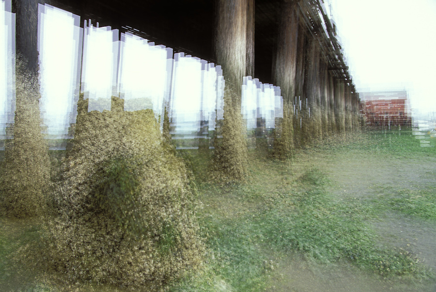 Impressionistic multiple exposure of Coupeville Pier at low tide, Coupeville, Washington
