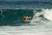 HONOLULU - Off The Wall, Oahu, Hawaii (Saturday, December 1, 2012) Alana Blanchard (HAW). --Small surf was on offer today on the North Shore. A left over north-west swell in 3'-4' range provided fun waves at Log Cabins, Off The Wall and Rocky Point. Photo: joliphotos.com
