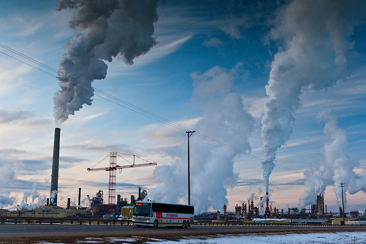 Tar Sands, March 2010. Syncrude and highway 63. Alberta Oil Sands, Tar sands, syncrude upgrader. Alberta Athabasca Tar Sands or Oil Sands.