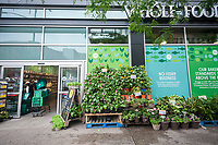 The Whole Foods Market in the Upper East Side neighborhood of New York n Friday, June 16, 2017. Amazon is buying Whole Foods Market in a deal worth $13.7 billion. (© Richard B. Levine)