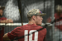 NWA Democrat-Gazette/ANDY SHUPE<br /> Arkansas designated hitter Matt Goodheart takes batting practice Friday, June 7, 2019, during practice in The Fowler Family Baseball and Track Training Center ahead of today's NCAA Super Regional game at Baum-Walker Stadium in Fayetteville. Visit nwadg.com/photos to see more photographs from the practices.