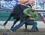 Chase Black competes in the Steer Wrestling event during the Reno Rodeo on Sunday, June 23, 2019.