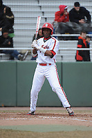 St. John's University Redstorm outfielder Jamal Clarke (2) during game 1 of a double header against the University of Cincinnati Bearcats at Jack Kaiser Stadium on March 28, 2013 Queens, New York.  St. John's defeated Cincinnati 6-5 in game 1.                                                  (Tomasso DeRosa/ Four Seam Images)