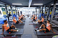 Wayne Routledge (L), Kyle Naughton (R) and other players exercise in the gym during the Swansea City Training Session at The Fairwood Training Ground, Wales, UK. Tuesday 03 July 2018