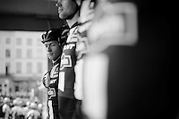 CX sensation Lars Van der Haar (NLD/Giant-Alpecin) joins his road teammates for the race but needs to seriously look up to them on the start podium<br /> <br /> 103rd Scheldeprijs 2015